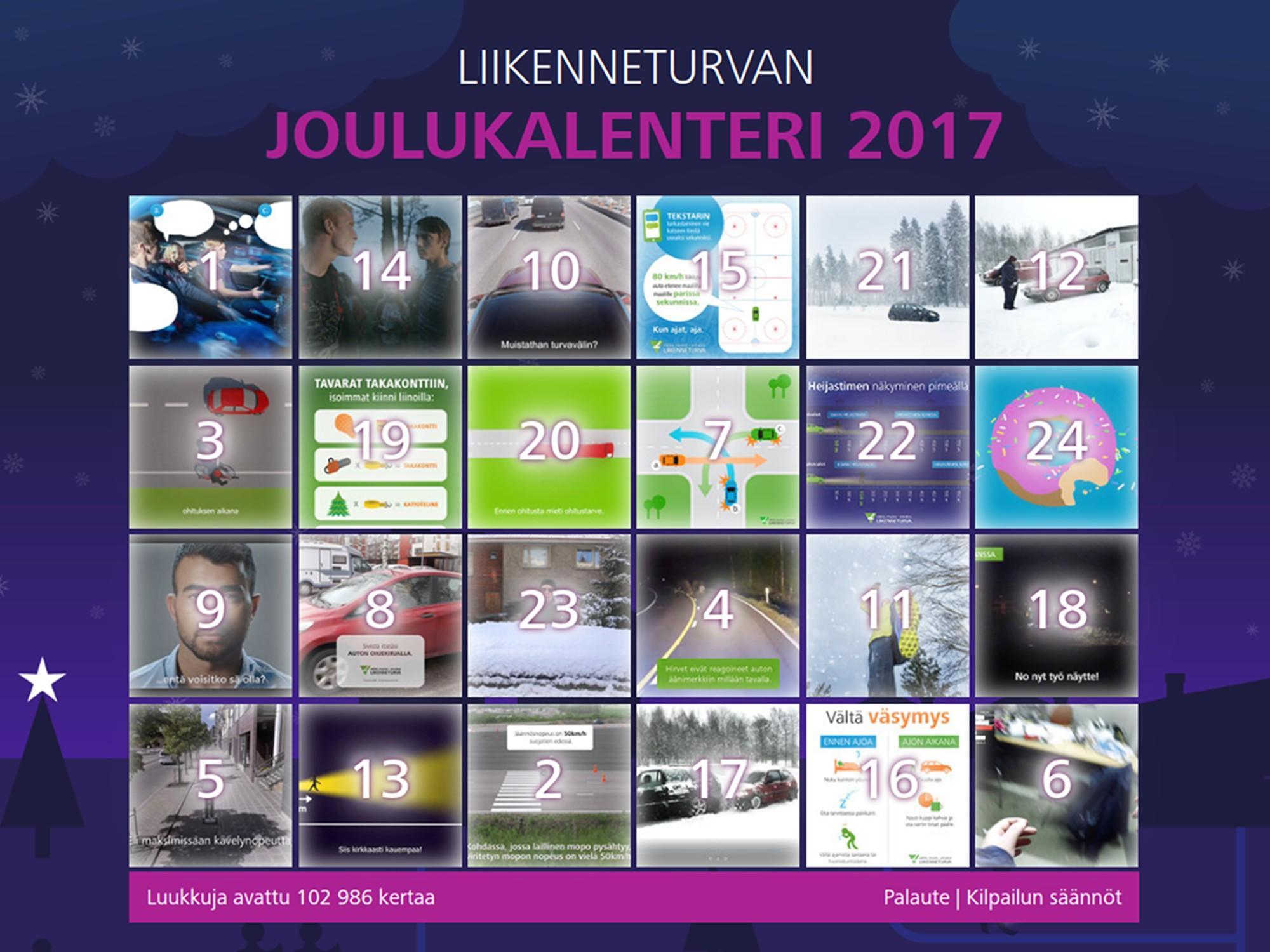 joulukalenteri 2018 nuorille Grand One 2018   Liikenneturvan Joulukalenteri 2017 joulukalenteri 2018 nuorille